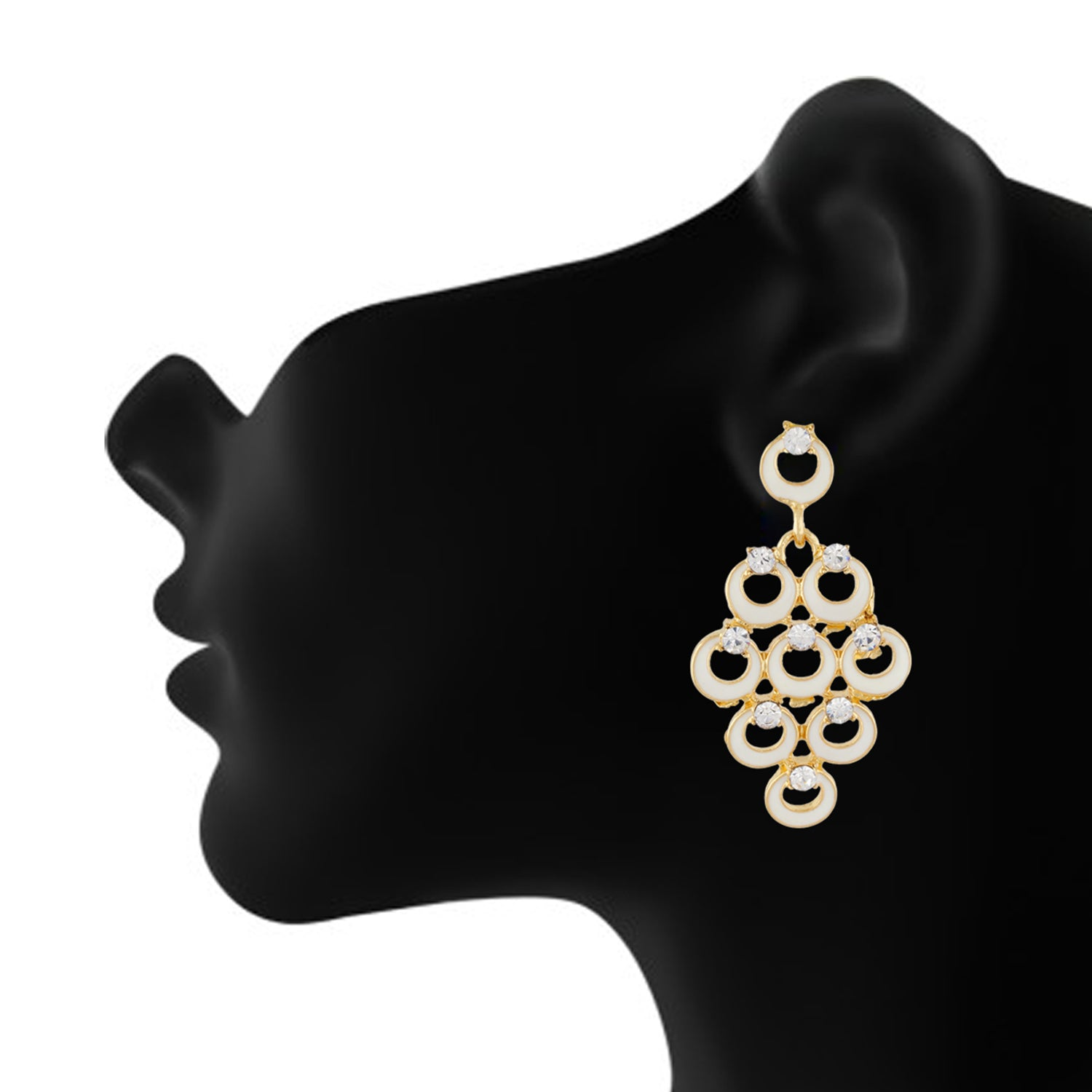 Impressive White and Gold Colour Bunch of Circles Design Earring for Girls and Women