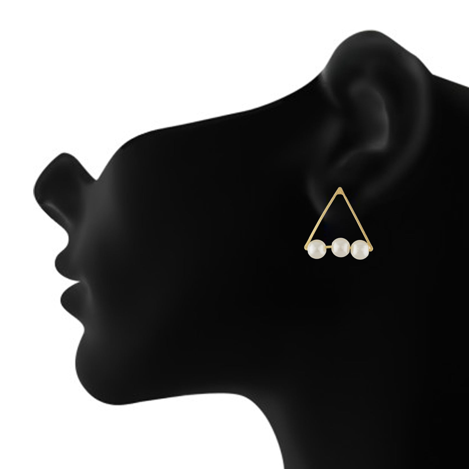 Stunning Gold Colour Triangular Design Pearl Earring for Girls and Women