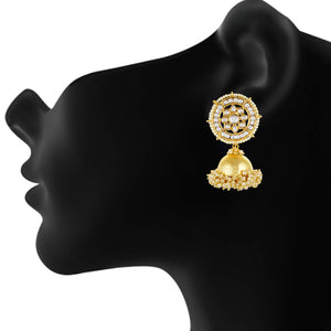 Gold plated Kudan Pearl Big Jhumki Earrings Fashion Imitaion Jewelry for Girls and Women
