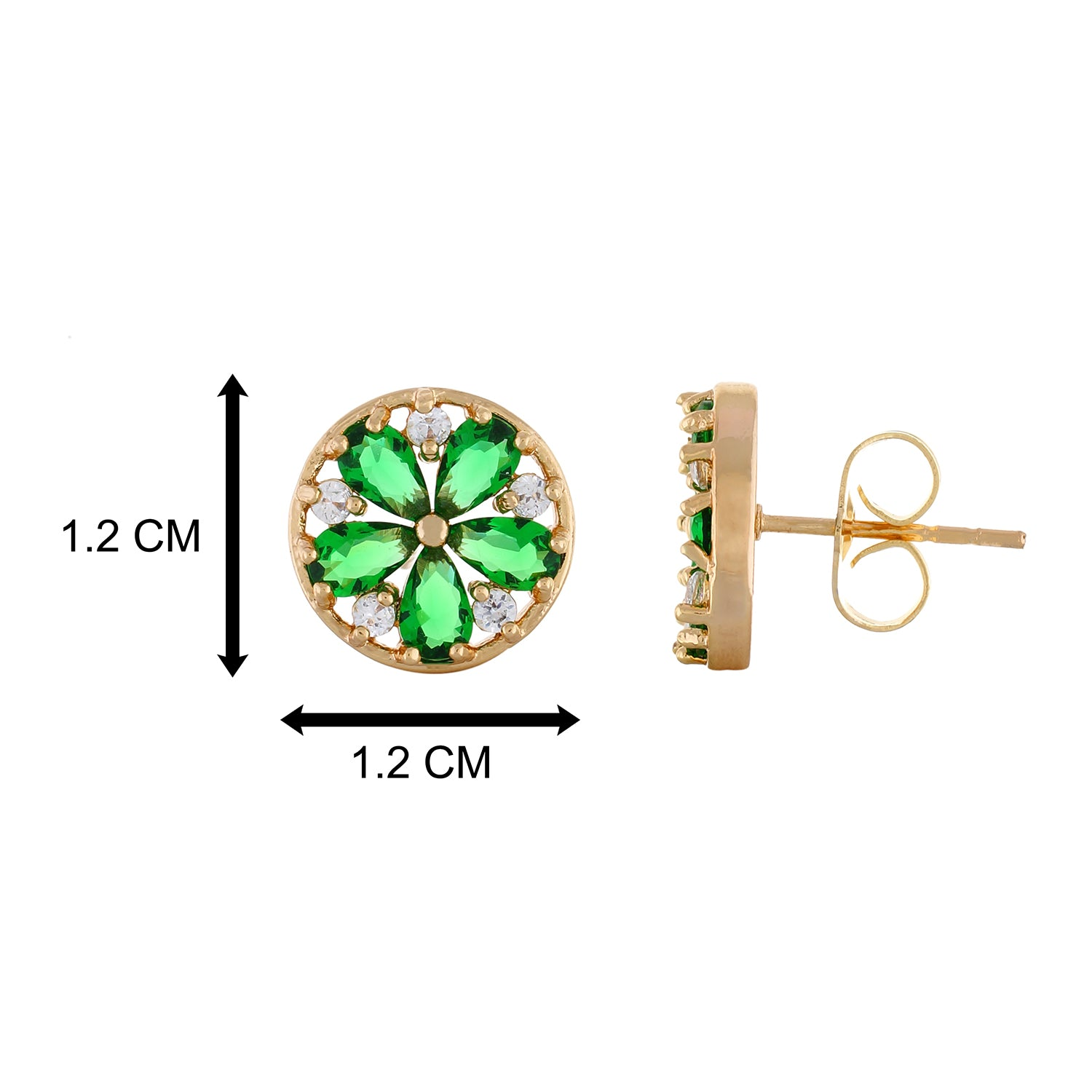 Green colour Round Design  Stud Earrings for Girls and Women