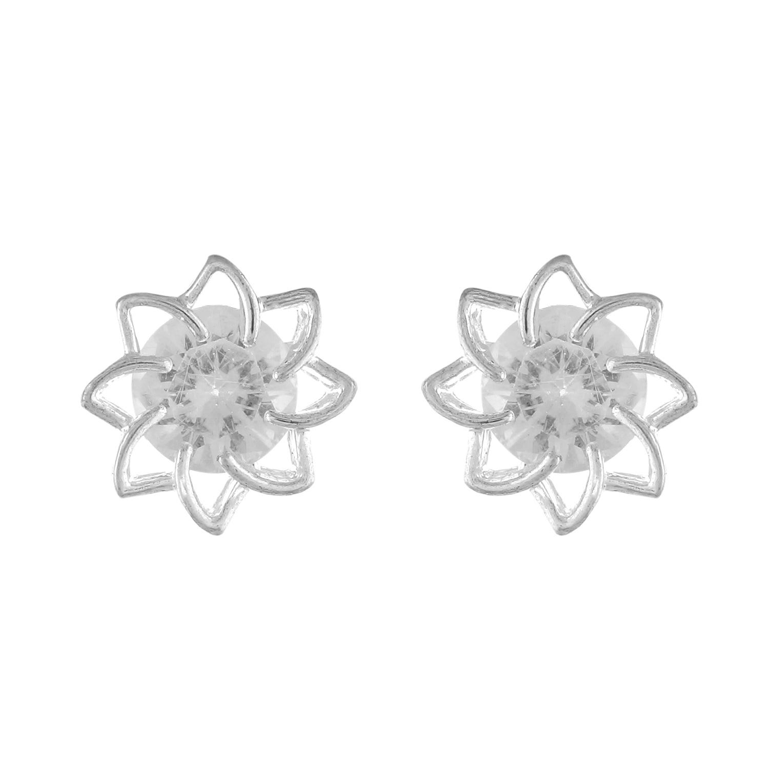 White colour Floral Design  Stud Earrings for Girls and Women