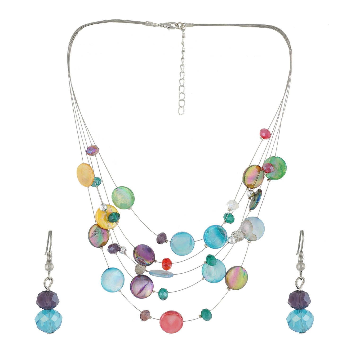 Multi Colour Button Necklace and Earrings for Girls and Women
