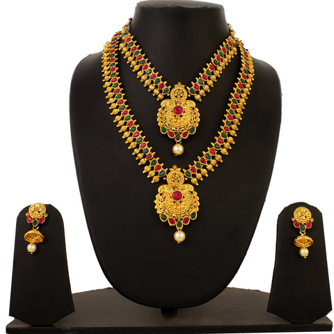 Gold Plated Traditional Kundan Necklace and Jhumki Earrings 3 pc Imitation Jewelry Set for Women and Girls