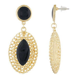 Stylish Black and Gold Colour Oval Shape Enamel Enhanced Earring for Girls and Women