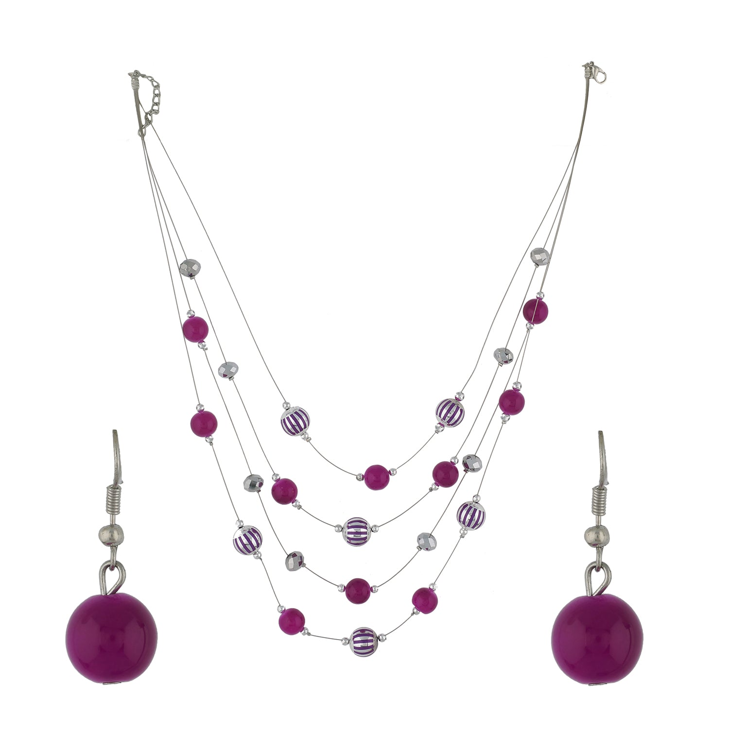 Pink Colour Layered Necklace and Earrings for Girls and Women