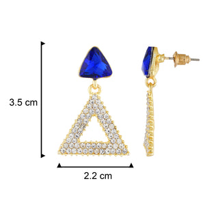 Incredible Blue and Gold Colour Triangular Design Earring for Girls and Women