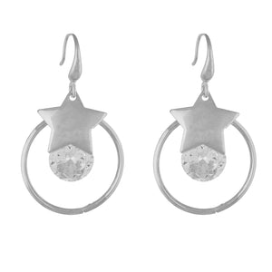 Trendy Silver Colour Star and Round Design Earring for Girls and Women