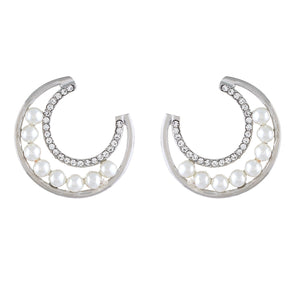 Silver colour Half Moon Design Stud Earrings for Girls and Women
