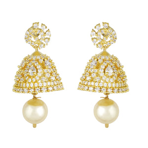 Smart Gold Plated CZ Copper Jhumki with Pearl Hanging for Ladies and Girls