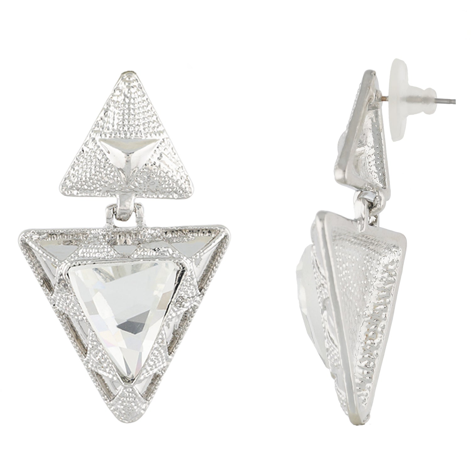 White Colour Triangular Necklace and Earrings for Girls and Women