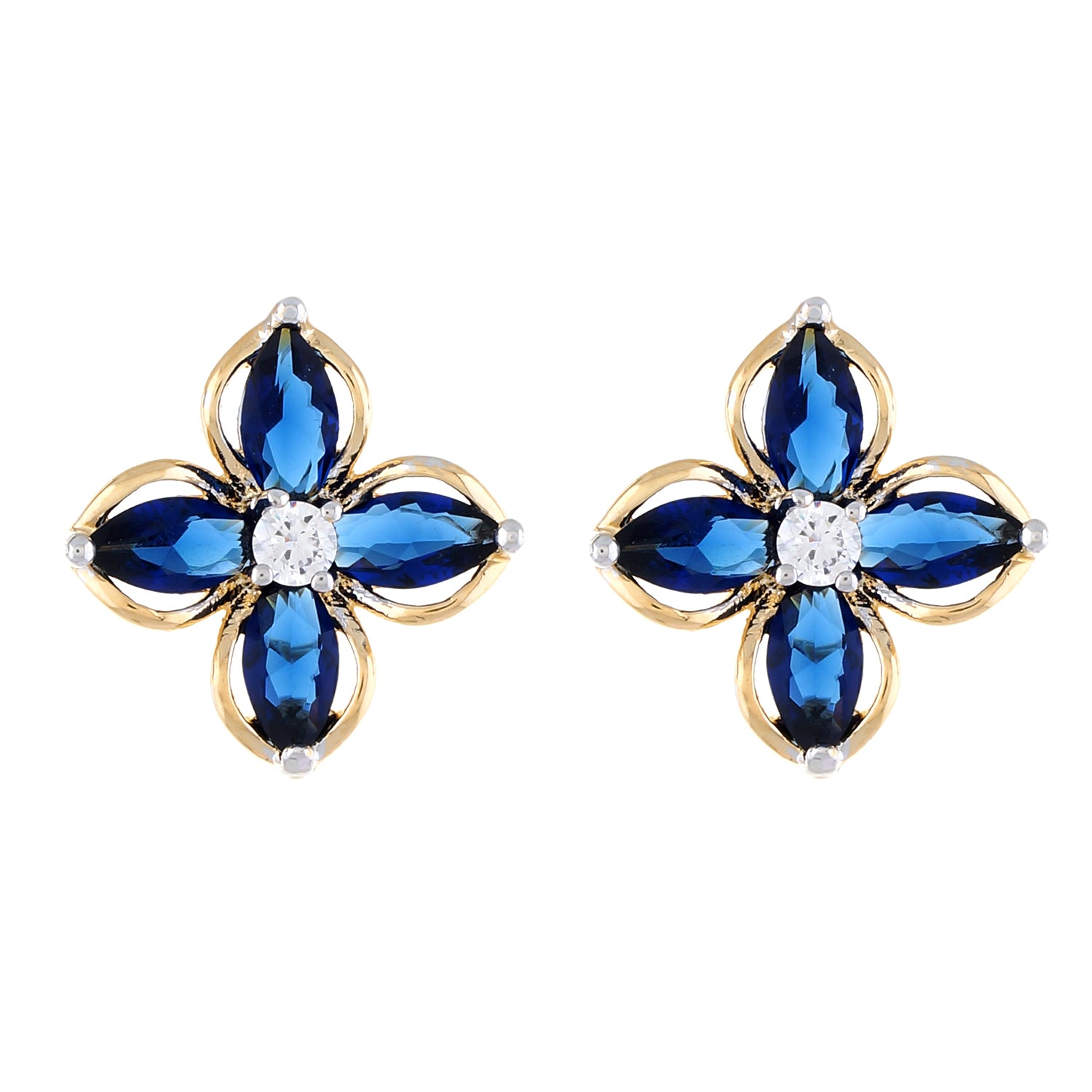 Blue colour Floral Design  Stud Earrings for Girls and Women