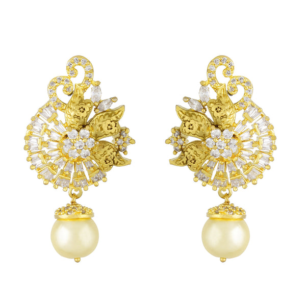 Traditional Floral Design Antique Gold Plated CZ Copper Hangings with Pearl for Ladies and Girls