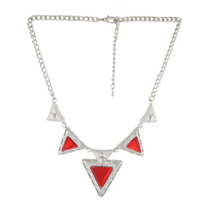 Red Colour Triangular Necklace and Earrings for Girls and Women