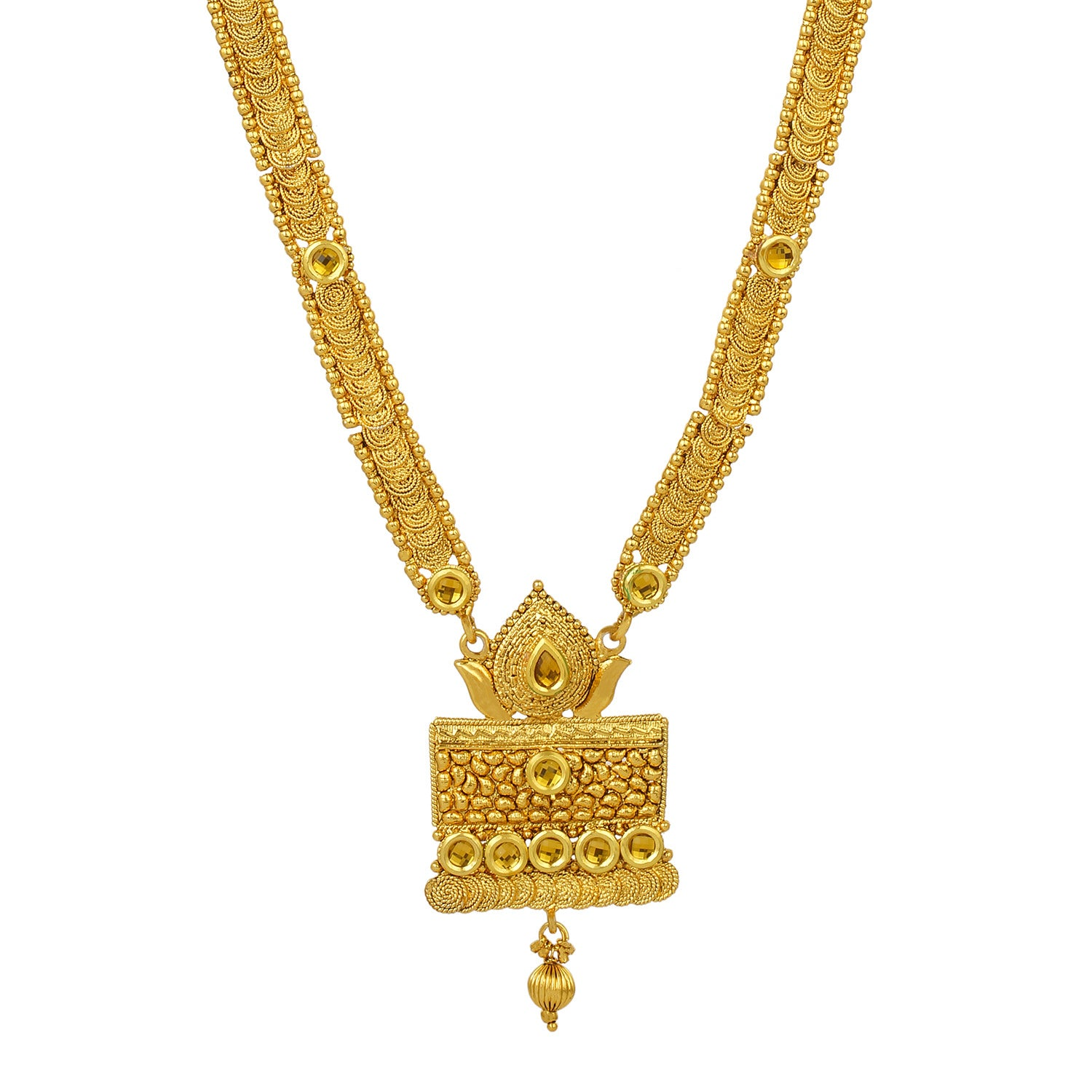 Gold Plated Traditional Long Kundan Necklace and Jhumki Earrings Fashion Jewelry Set for Women and Girls