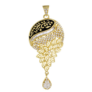 Ethnic Black Antique Gold Plated CZ Copper Pendant Set for Ladies and Girls