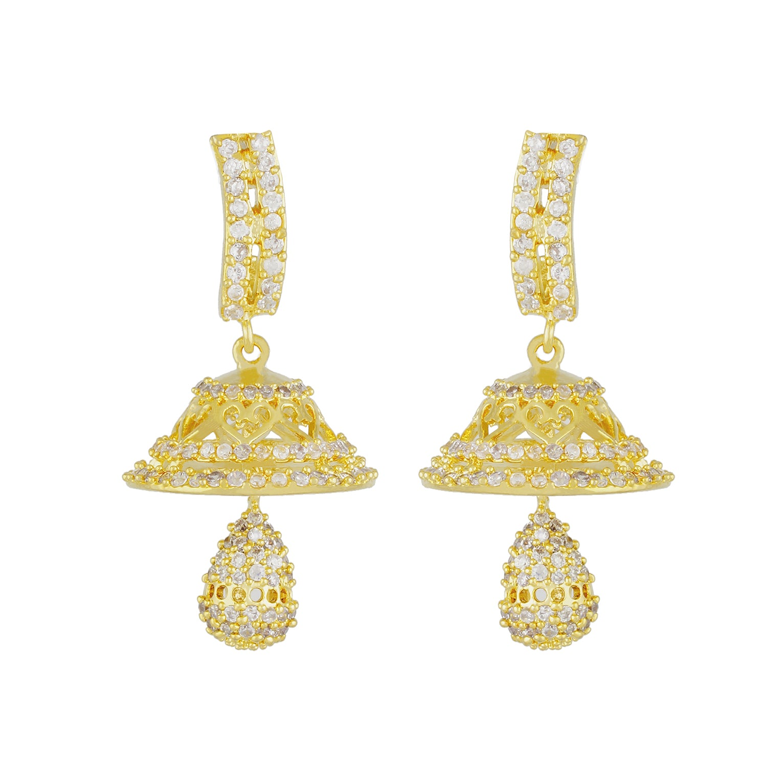 Stylish Gold Plated CZ Copper Jhumki for Ladies and Girls