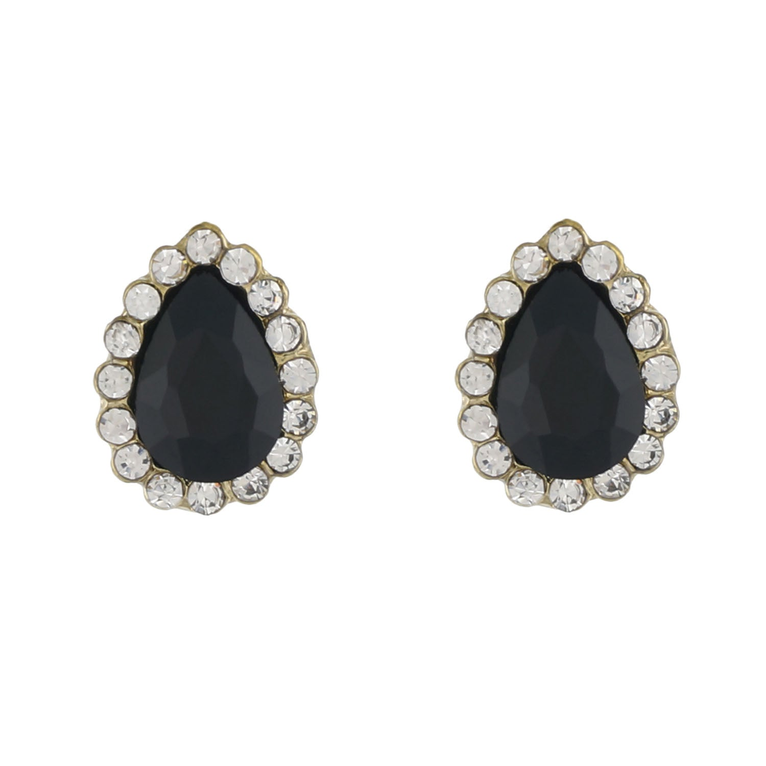 Black Colour Drop Shape Ear  Studs for Girls and Womens