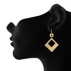 Gold colour Rhombus Design Hanging Earrings for Girls and Women