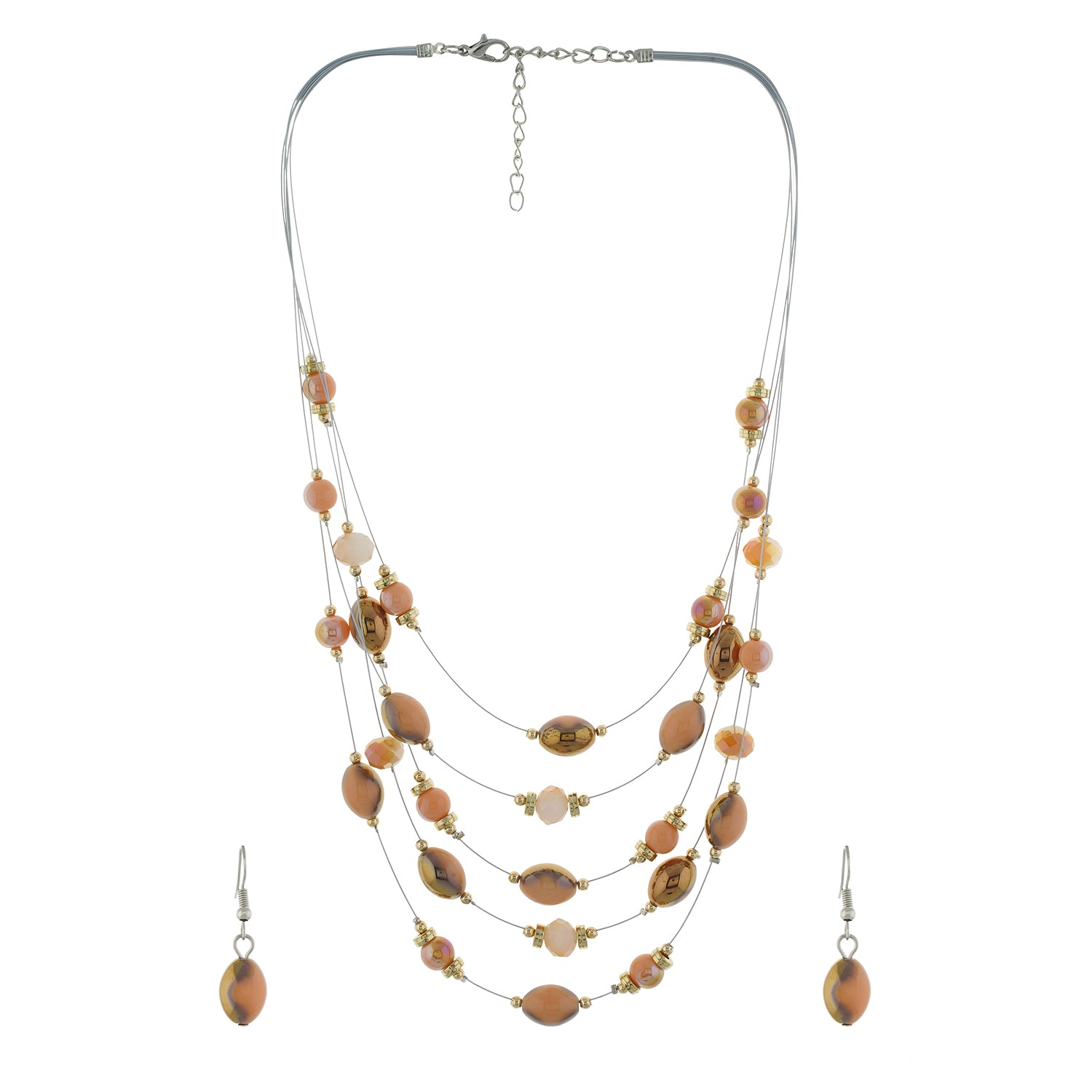 Brown colour Multi Strand design Necklace Set for girls and women