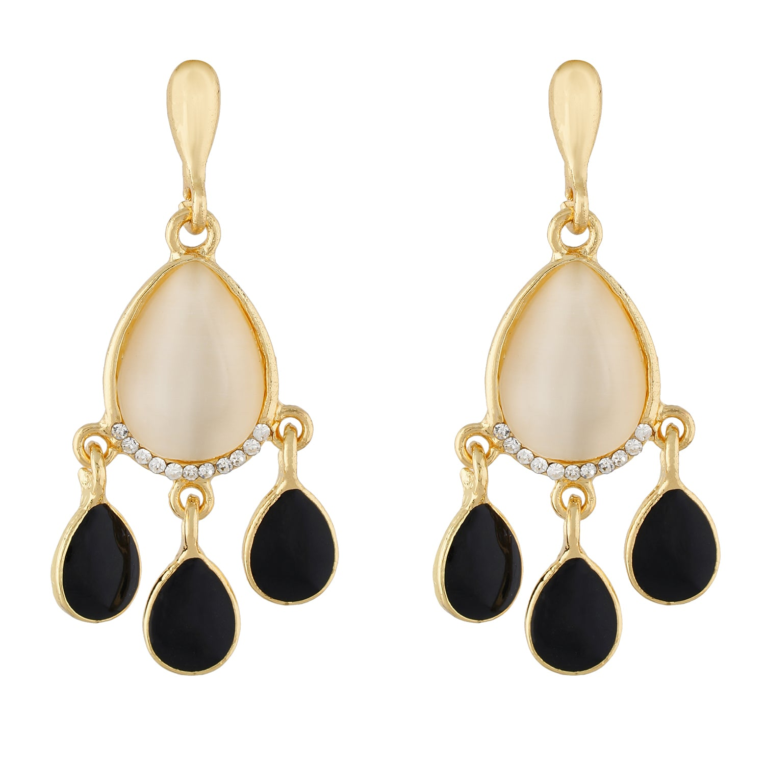 Fashionable Black and Gold Colour Drop Design Earring for Girls and Women