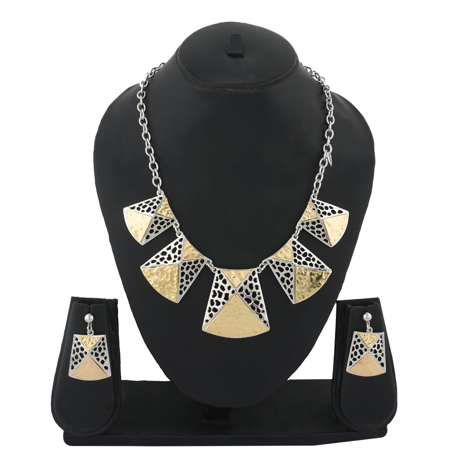 Gold Colour Geometrical Necklace and Earrings for Girls and Women