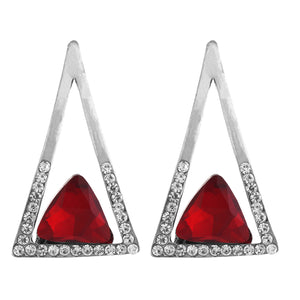 Red and Silver colour Triangular Design Hanging Earrings for Girls and Women