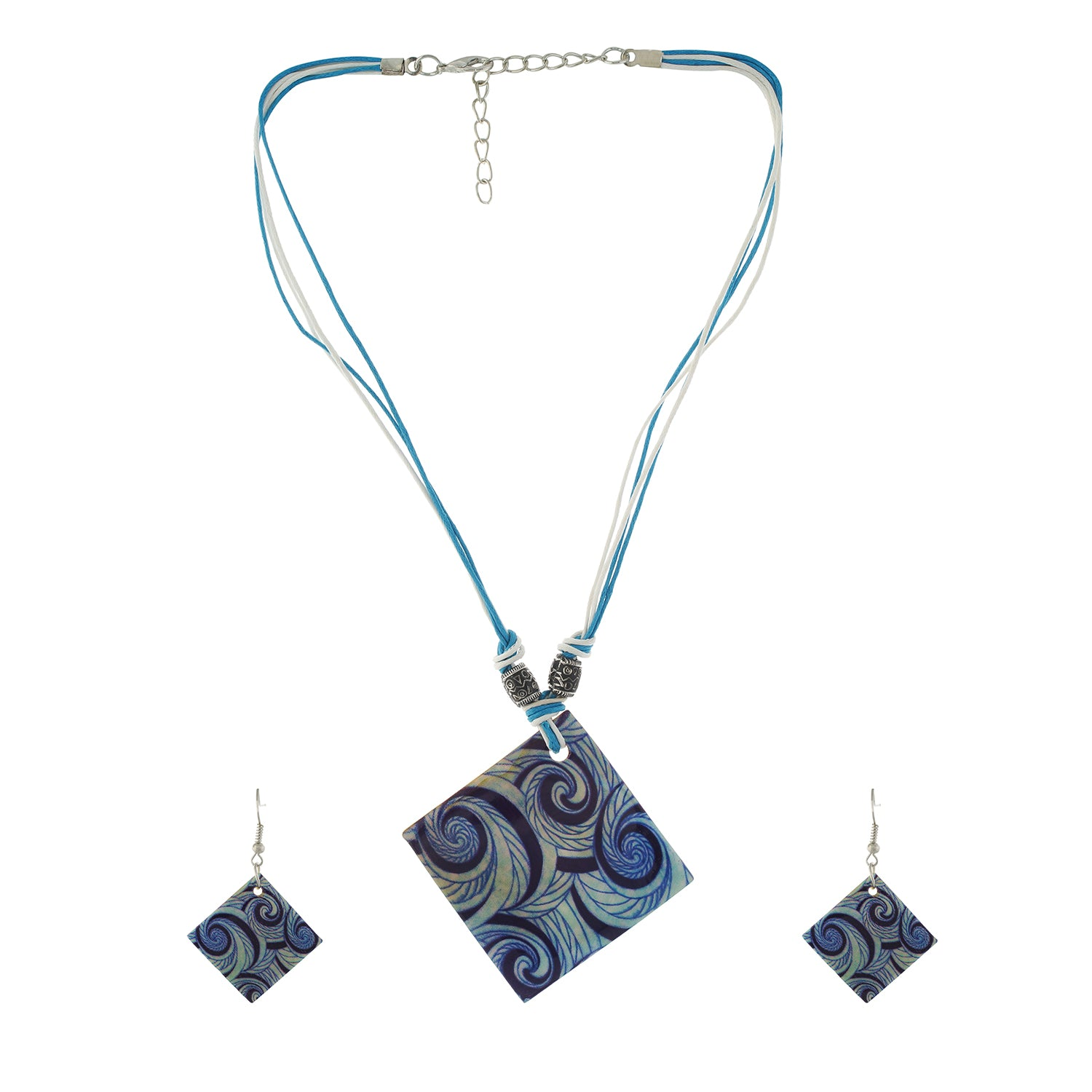 Blue colour Rhombus design Necklace Set for girls and women