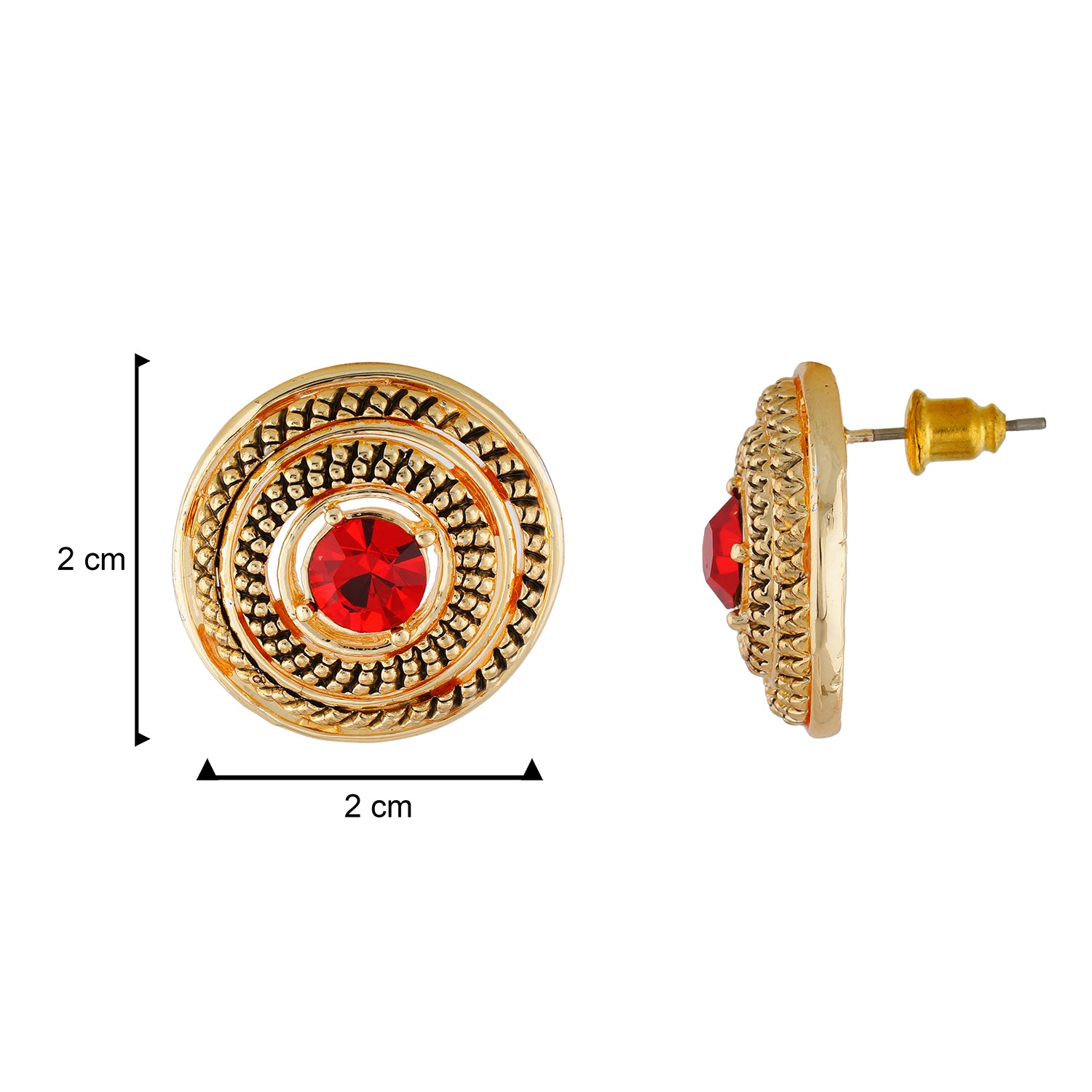 Gorgeous Gold and Red Colour Round Shape Earring for Girls and Women