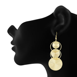 Gold Colour Round Shape Ear Long Hangings for Girls and Womens