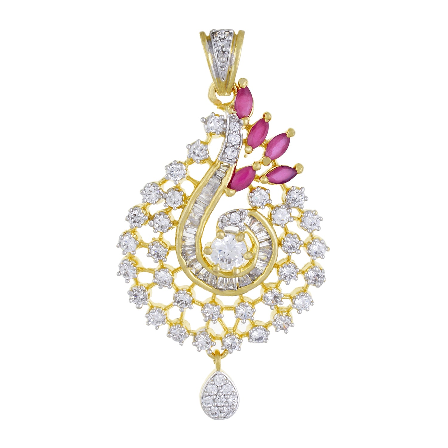 Designer Gold Plated CZ Copper Pendant Set for Ladies and Girls