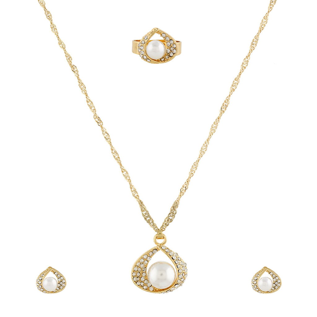 Gold Matinee  Pendant Set  With Hangings & Ring For Girls and Women
