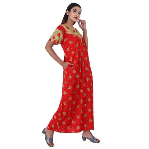 Red & Beige colour Floral Design Printed Round Neck Cotton Nighty For Ladies Nightwear Full Length Women Night Gown Short Sleeves (Free Size)