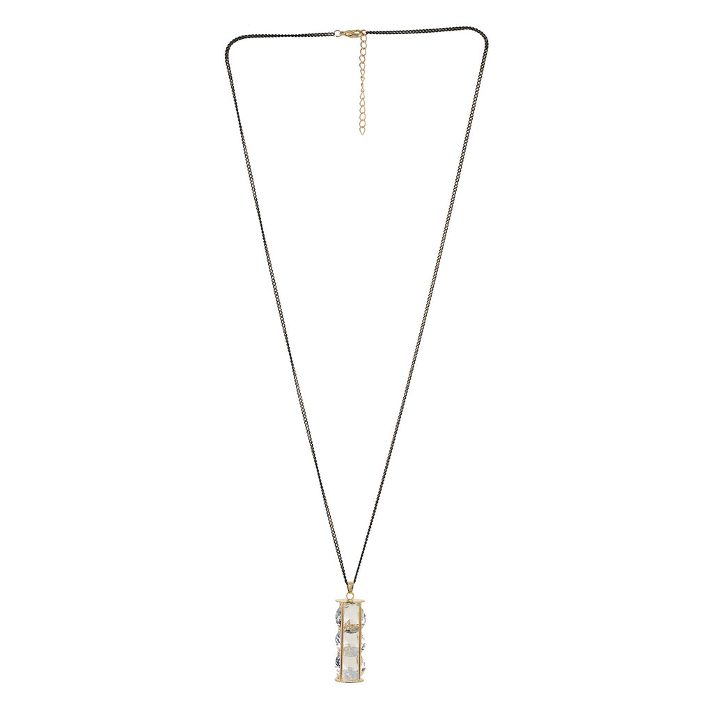 Gold and Grey colour Cylindrical design Pendant with Chain for girls and women
