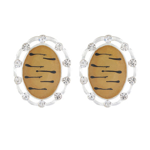 White and Black colour Oval Design  Stud Earrings for Girls and Women