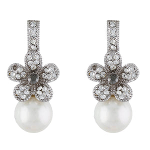 Trendy Silver Colour Floral Shape Earring Pearl Studded for Girls and Women
