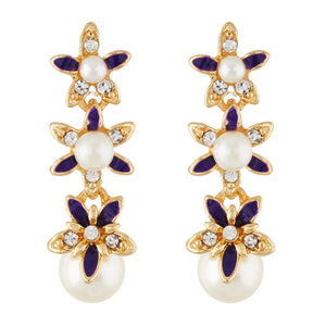 Debonair Purple and Gold Colour Floral design Enamel Enhanced Earring for Girls and Women