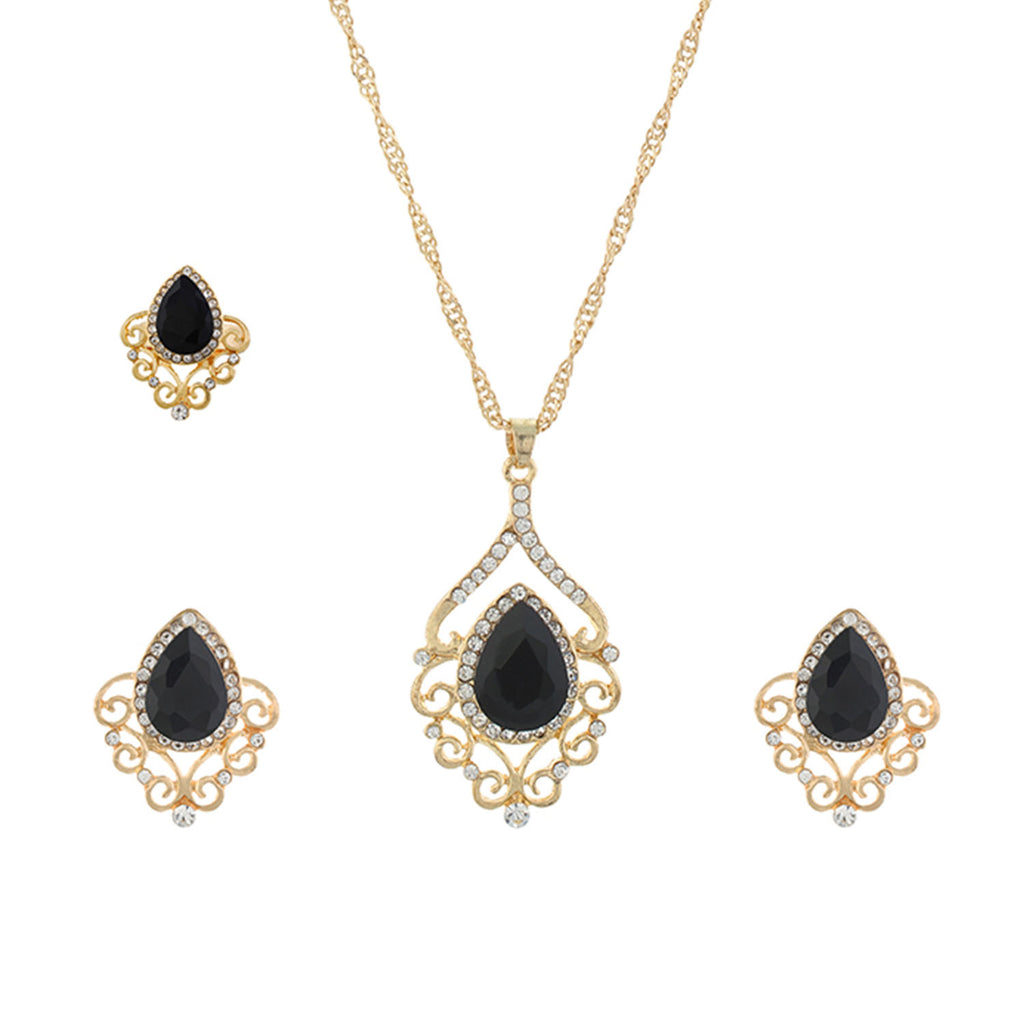 Black and Gold colour Drop design Pendant Set for girls and women