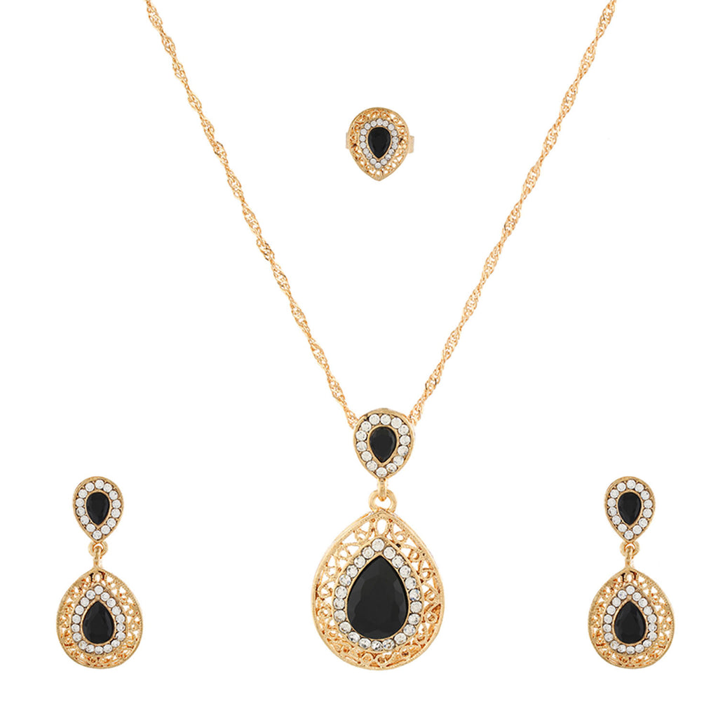 Black small  Pendant Set  With Hangings & Ring For Girls and Women