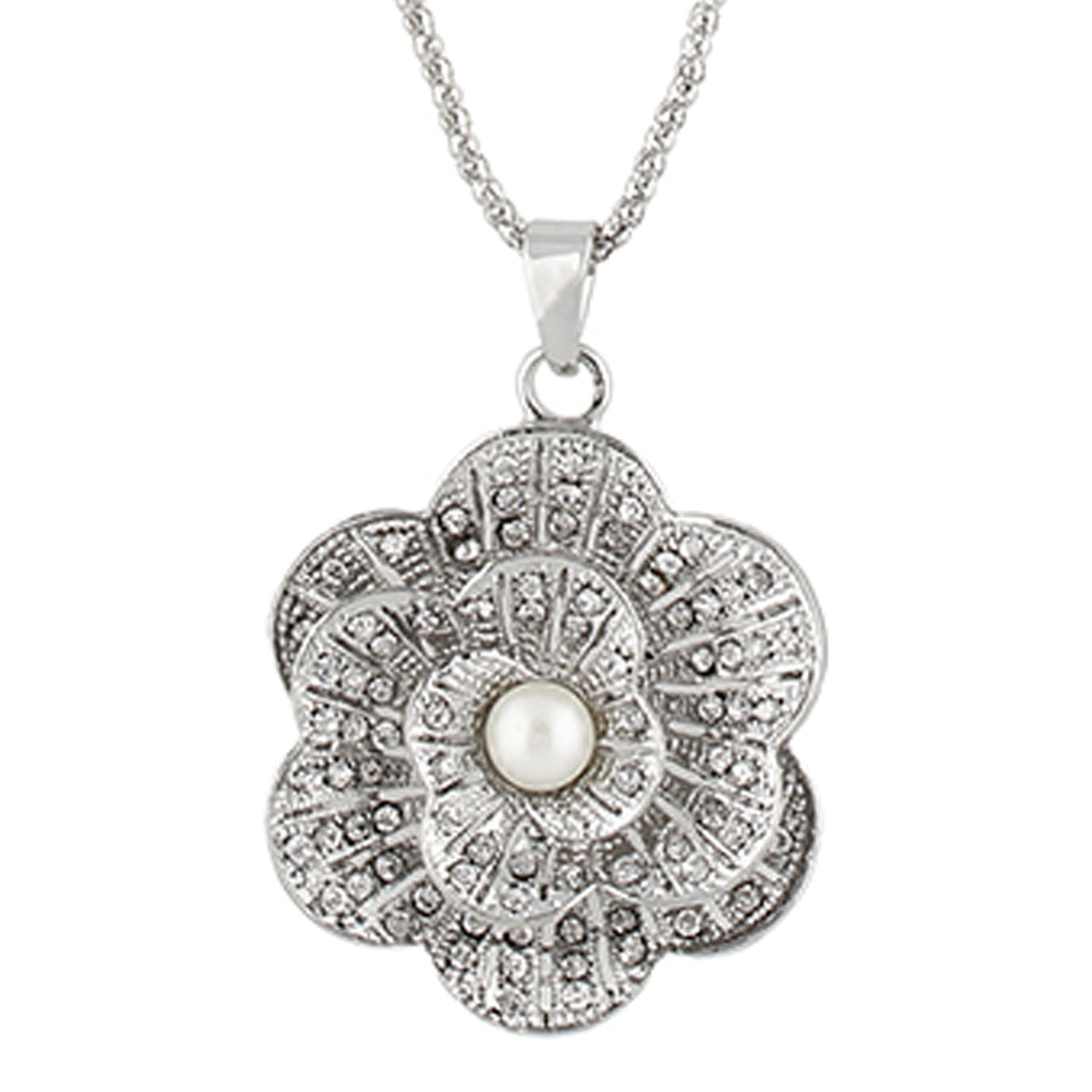 Grey Colour Floral Shape Alloy Pendant with Chain for Girls and Women