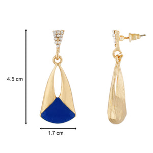 Classy Blue and Gold Colour Drop Shape Earring for Girls and Women