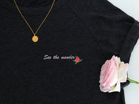 Organic embroidered nature inspired t-shirt