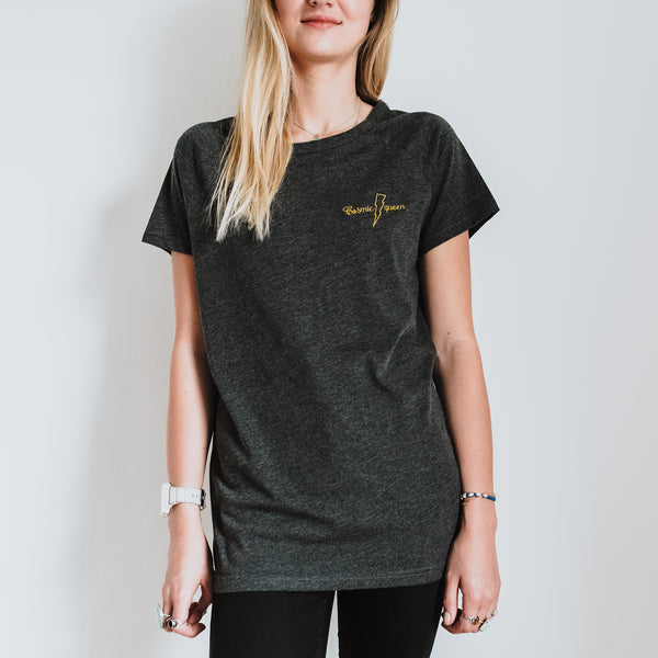 Cosmic queen t shirt made with organic cotton in grey