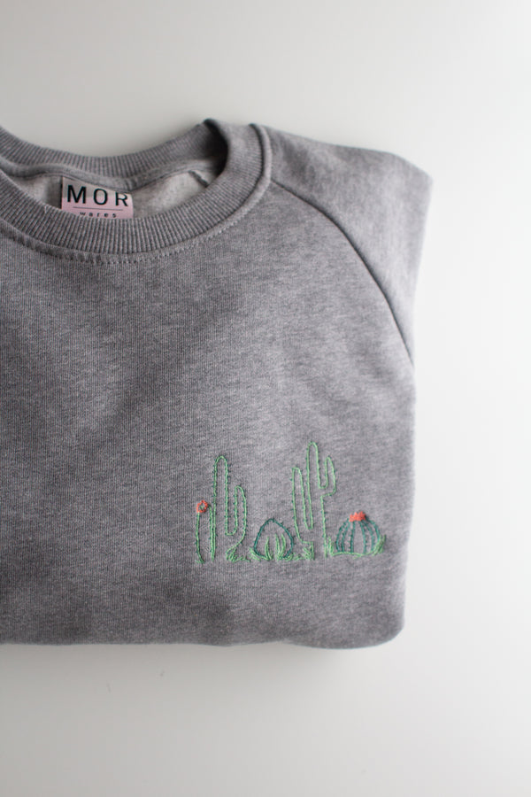 Light Grey Cacti Embroidered Organic Cotton Jumper