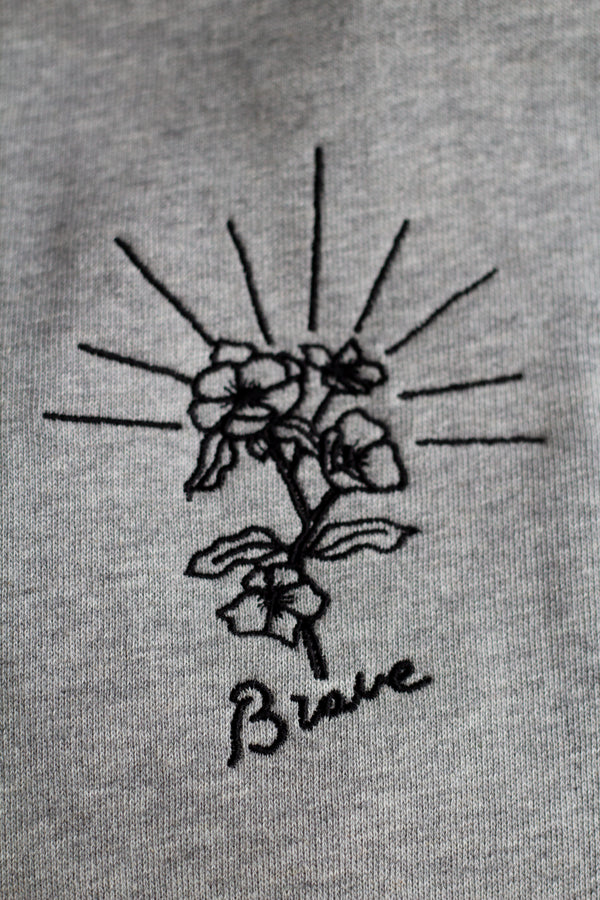 Brave embroidered organic cotton jumper