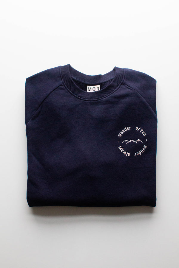 Adventure slogan embroidered organic cotton ethical jumper by MOR wares