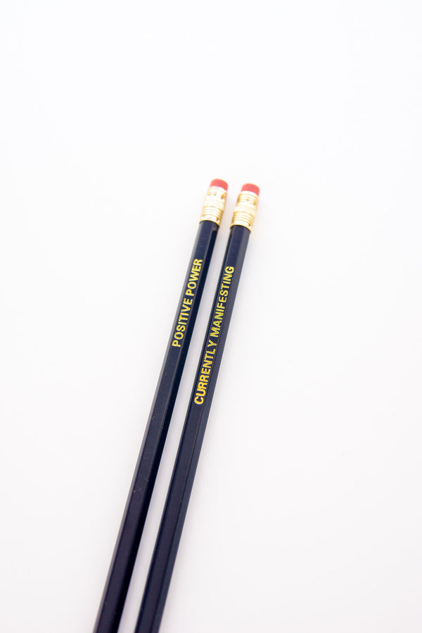 Set of 2 inspirational foil stamped pencil