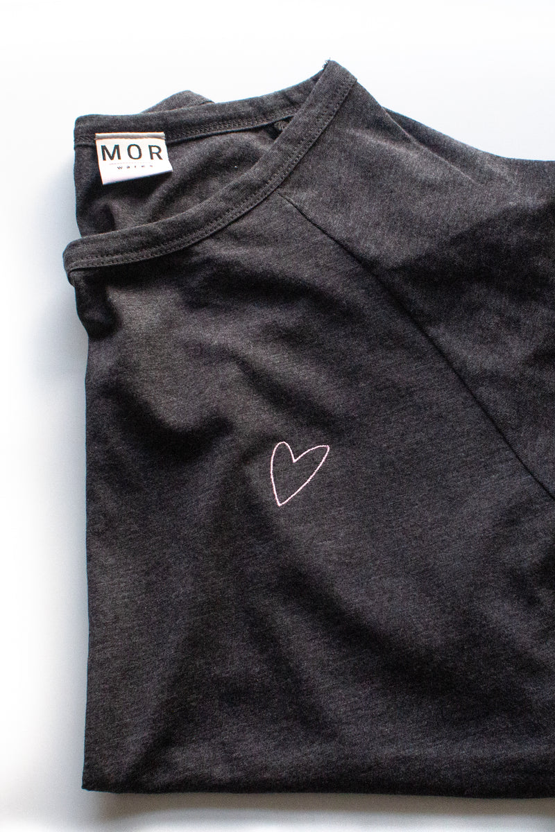 Embroidered heart organic t-shirt in grey by MOR wares