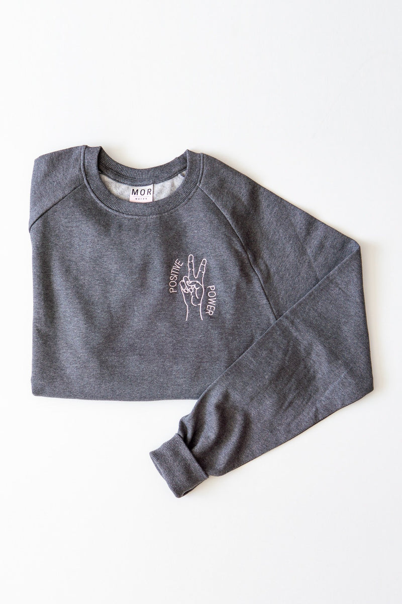 Positive power unisex embroidered organic cotton jumper