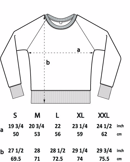 Jumper size guide for MOR wares organic cotton adventure slogan jumper