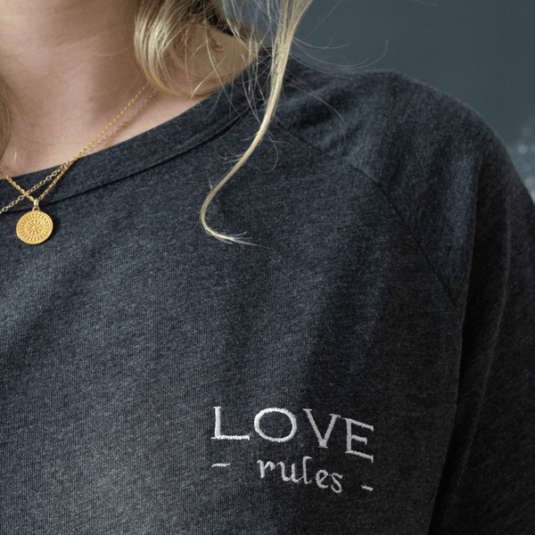 Love rules slogan organic embroidered t-shirt